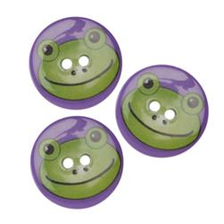 Novelty Button 1'' Critter Frog Multi