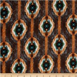 Rayon Jersey Knit Abstract Brown/Green/Copper