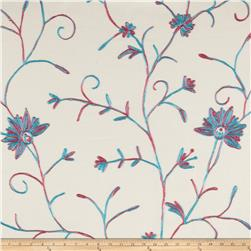Bartow Garden State Floral Embroidered Turquoise/Fuschia/ivory