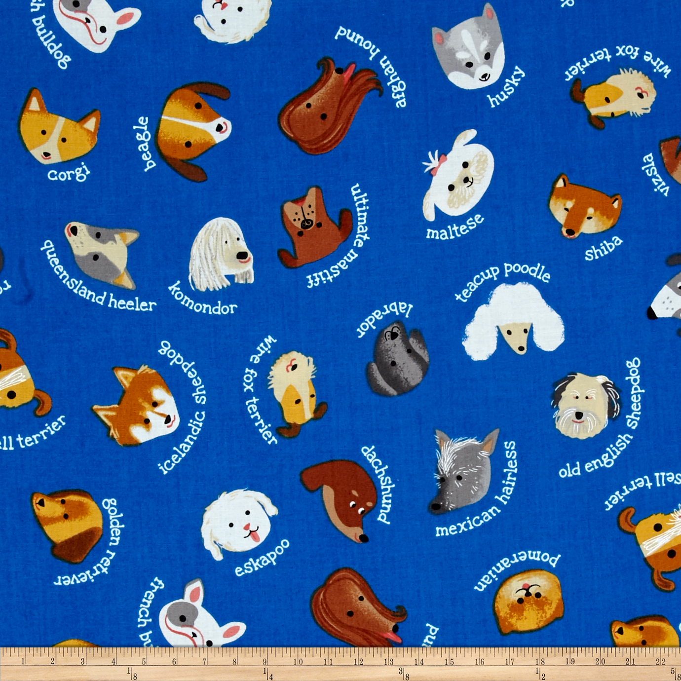 Kaufman Whiskers & Tails My Dog Royal Fabric