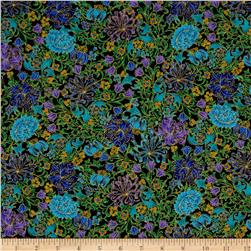 Timeless Treasures Suffolk Metallic Garden Black