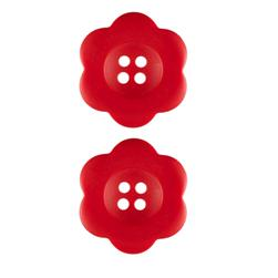 Riley Blake Sew Together 1 1/2'' Flower Matte Button Red