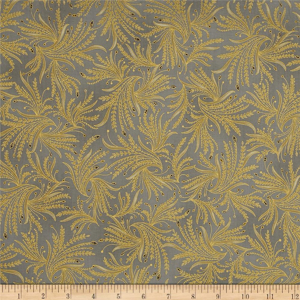 Kaufman Valley of the Kings Metallic Branches Grey