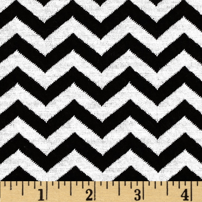 Onyx Jacquard Knit Chevron Black/White Fabric