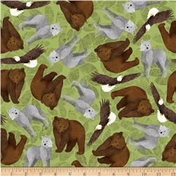 Riley Blake Trail Mix Animals Green