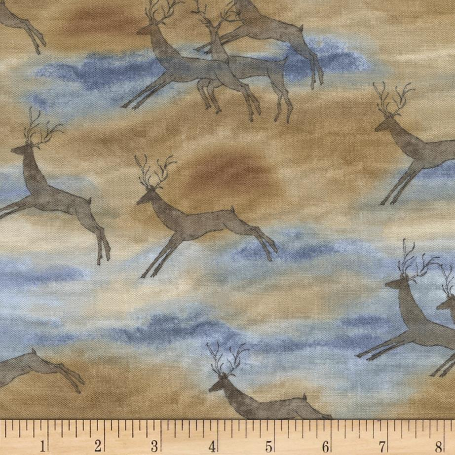 Timeless Treasures Far And Away Deer Natural