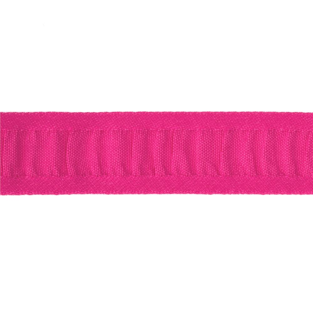 "7/8"" Ruched Ruffle Satin Edge Ribbon Fuchsia"