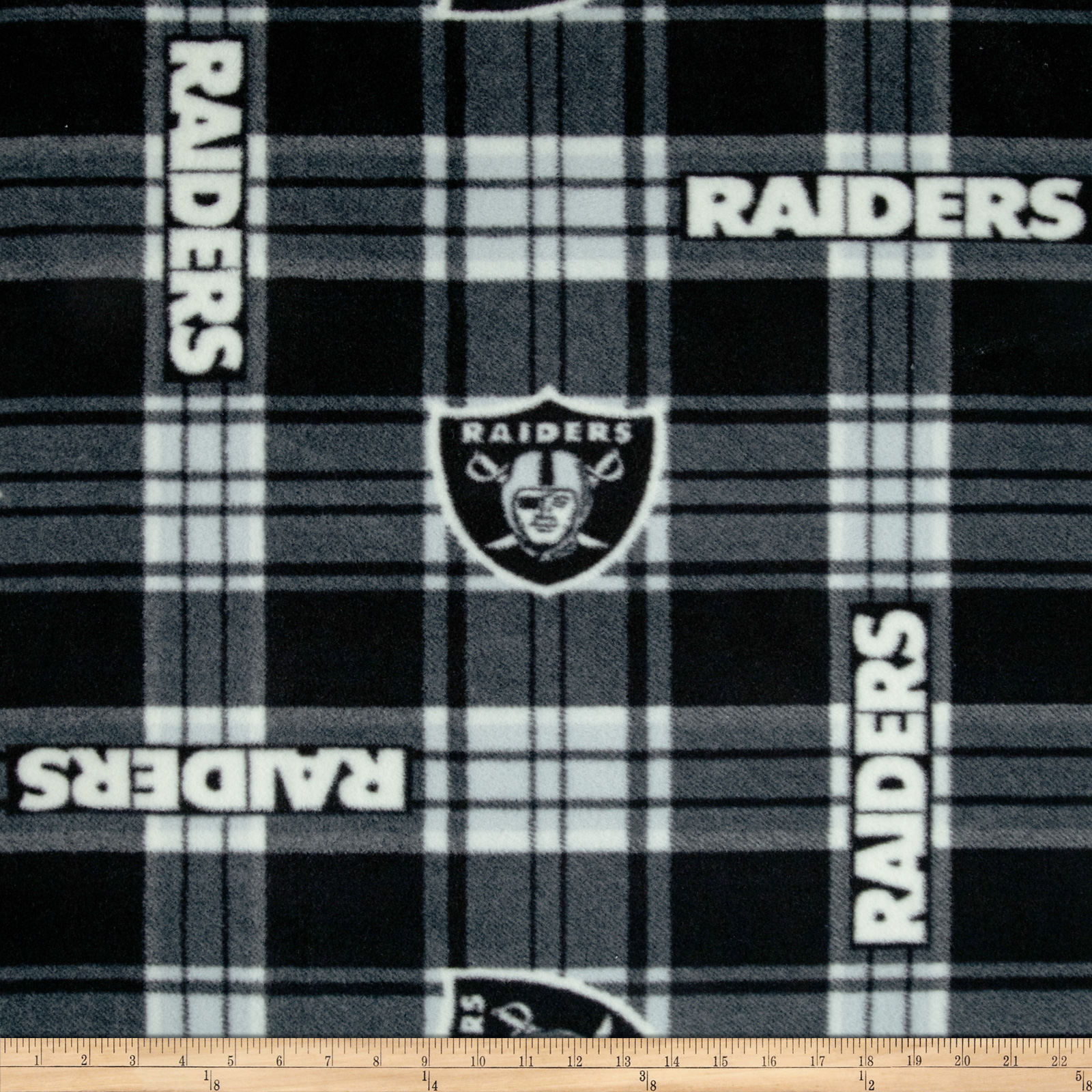 NFL Fleece Oakland Raiders Plaid Black/White Fabric