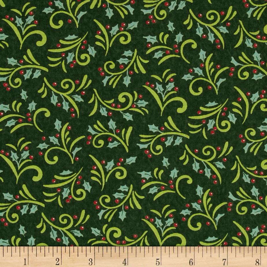 Moda Be Jolly Holly Berry Swirls Pine Green