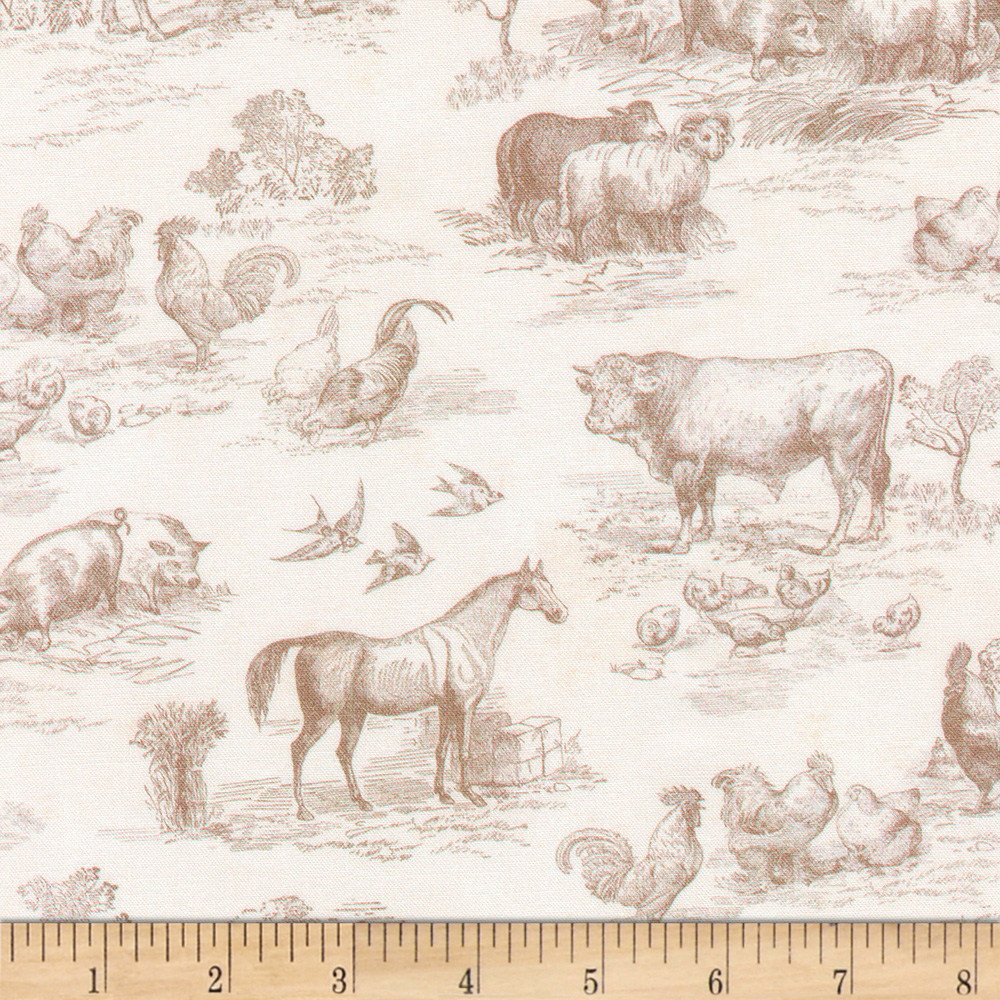 Kaufman Down On The Farm Toile Natural