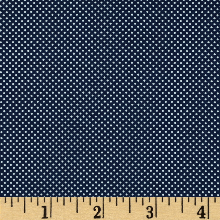 Morocco Blues Stretch Poplin Dots Navy Fabric
