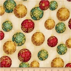 Robert Kaufman Radiant Holiday Metallic Ornaments Holiday