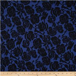 Embossed Ponte de Roma Floral Royal/Black