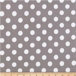Riley Blake Laminate Medium Dots Gray/White