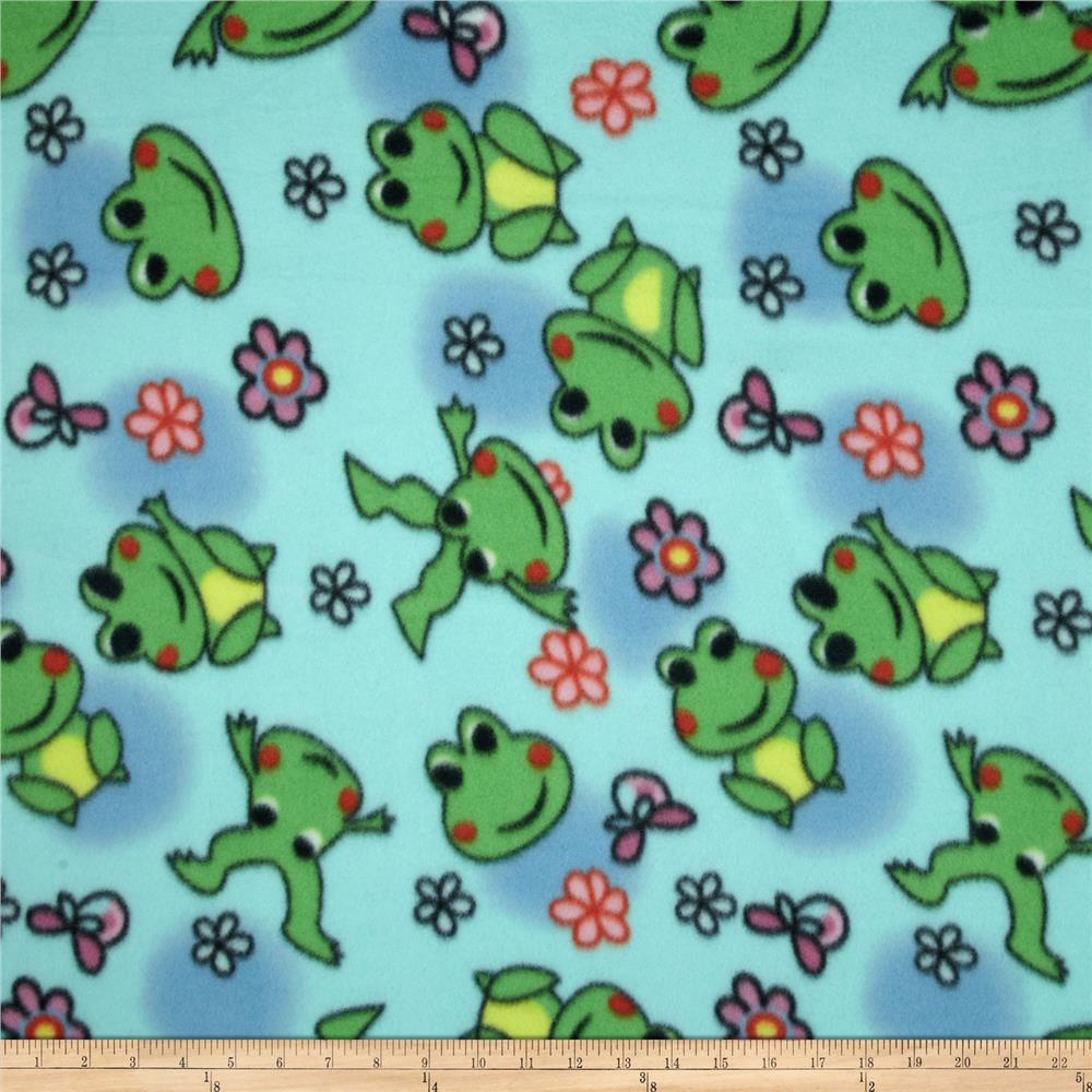 Fleece Tossed Frogs Blue/Green