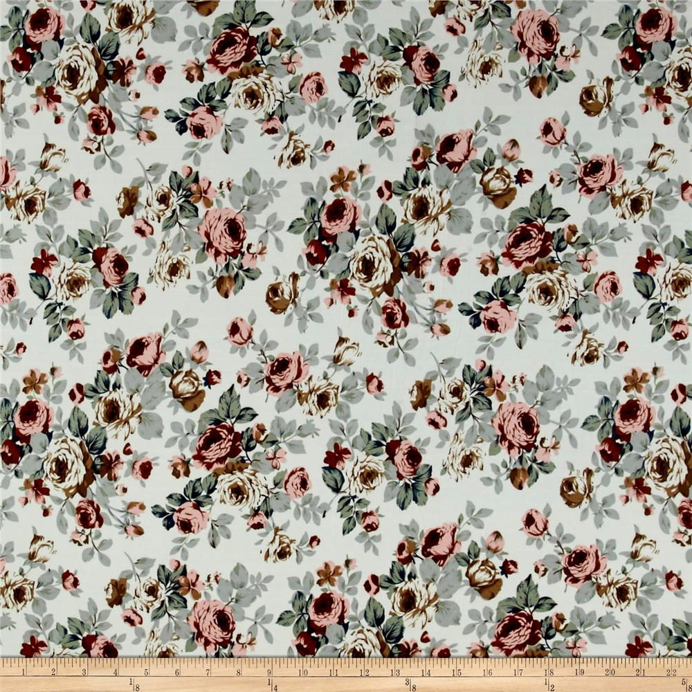 ITY Brushed Jersey Knit Vintage Floral Gray/Mauve Fabric