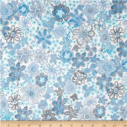 Kaufman London Calling Lawn Floral Burst Blue Fabric