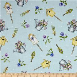Pretty As A Pansy Tossed Garden Motifs Light Blue