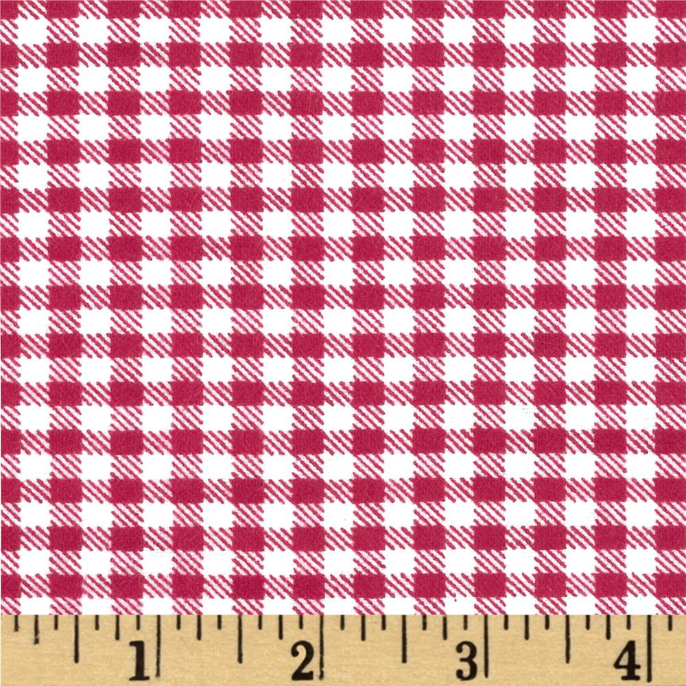Aunt Polly's Flannel Gingham Deep Rose/White