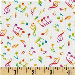 Dancing Silhouette Musical Notes Cream