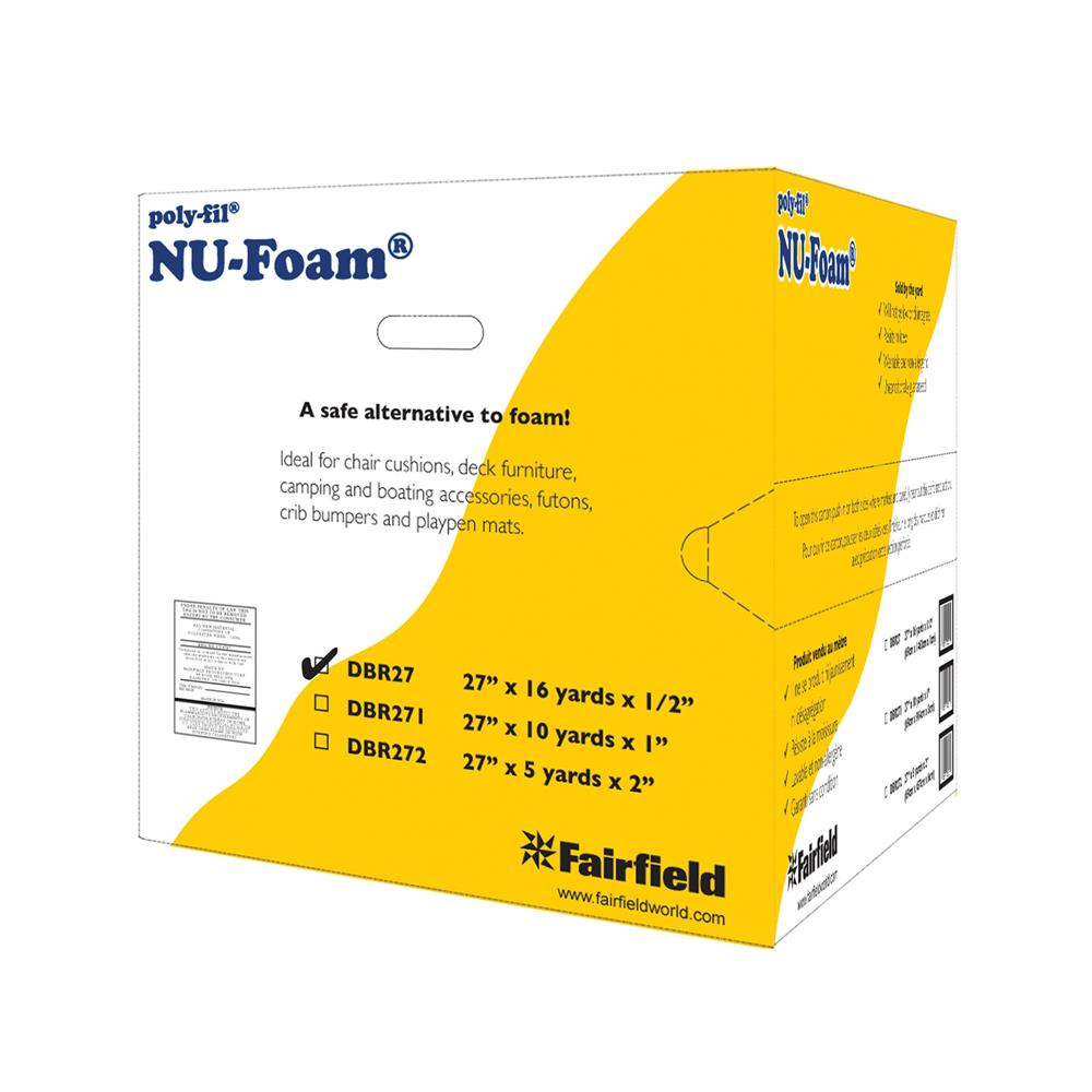 "Fairfield Poly-Fil Nu-Foam 27"" x 16yds x 1/2""  Roll"