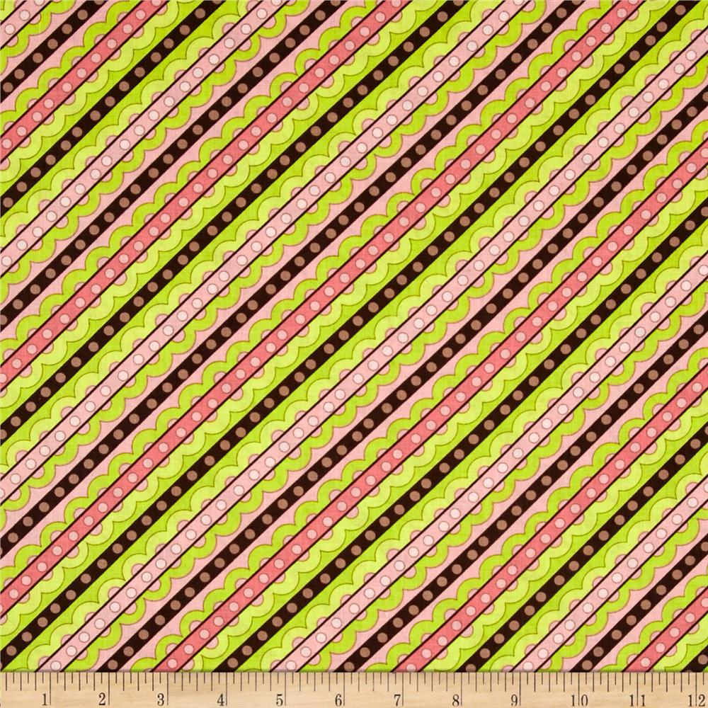 Life Is Tweet Diagonal Stripe Pink/Green