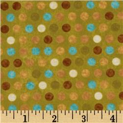 Kitty Kat Kapers Dots Green Fabric