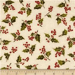 Moda Magnolia Metallics Boughs Of Holly Cream