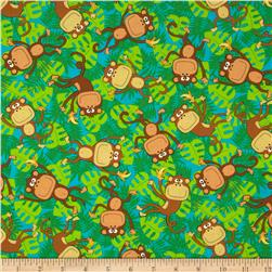 Kanvas Monkeying Around Funky Monkey Turquoise Fabric