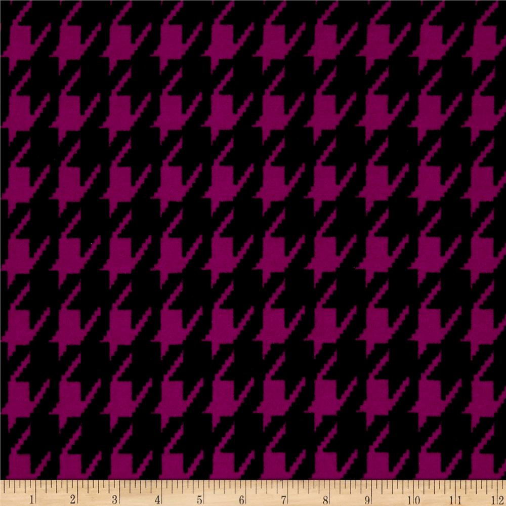 Hatchi Lightweight Sweater Knit Houndstooth Magenta