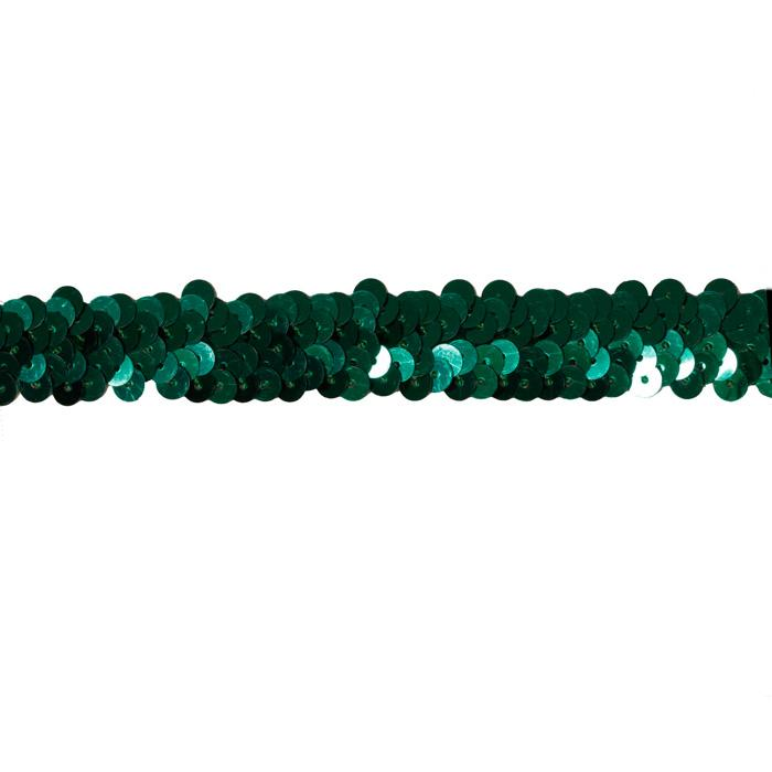 1'' Stretch Sequin Trim Emerald Green