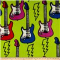 Fleece Print Guitar Play Lime Green