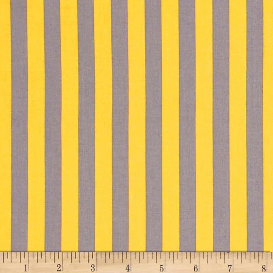 "Riley Blake 1/2"" Stripe Grey/Yellow"