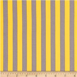 Riley Blake 1/2'' Stripe Grey/Yellow Fabric