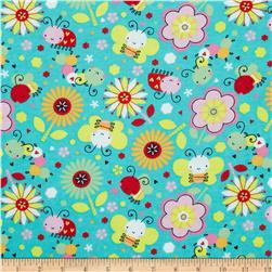 Flannel Bugs & Flowers Mint