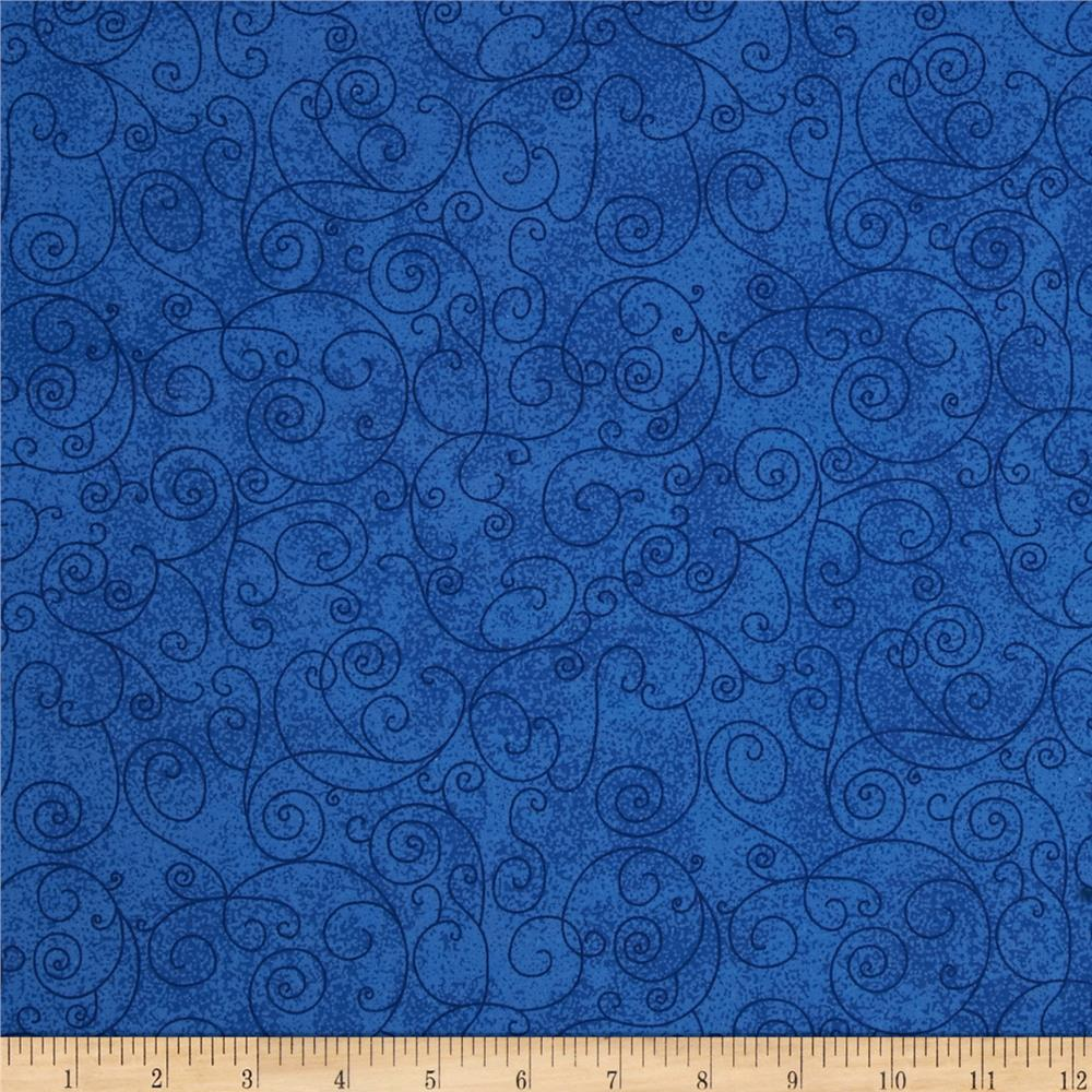 "110"" Wide Flannel Quilt Back Willow Royal"