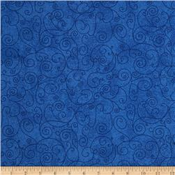 110'' Wide Flannel Quilt Back Willow Royal Fabric