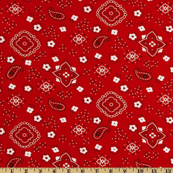 Bandana Prints Red Fabric By The Yard