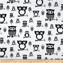 Premier Prints Hooty Owl White/Black Fabric