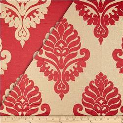 World Wide Rowley Metallic Damask Satin Jacquard Cranberry