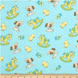 Bear Hugs Flannel Character Toss Teal