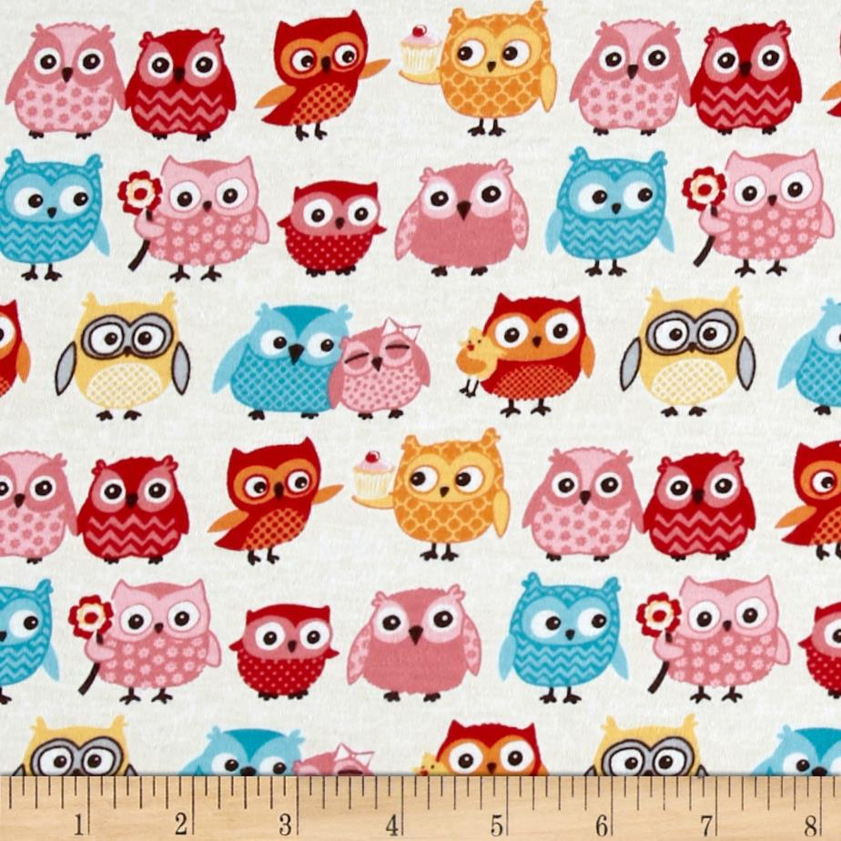 Riley Blake Jersey Knit Tree Party Owls Cream