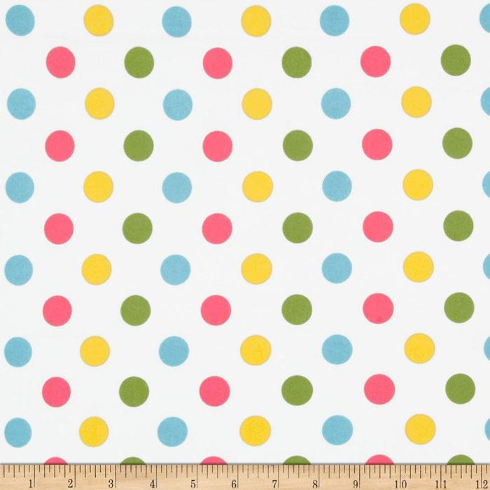 Riley Blake Flannel Basics Dots Medium Girl Pink/Green