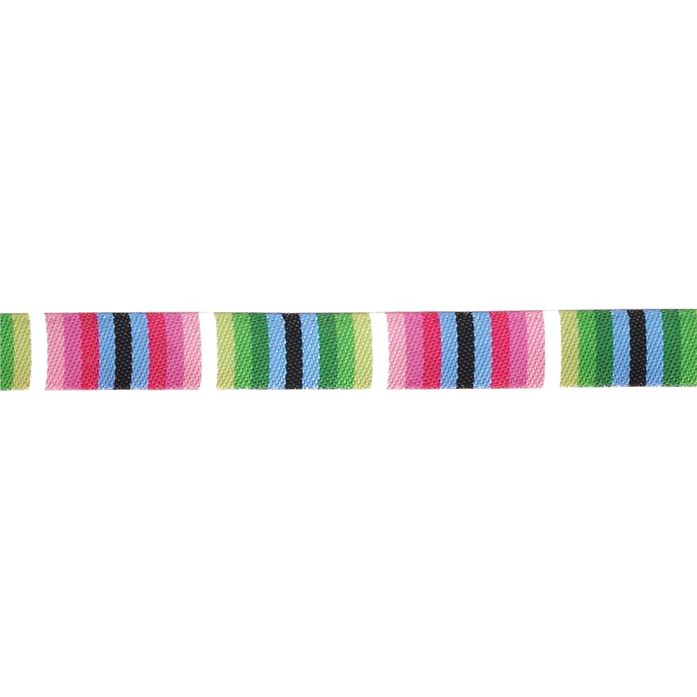 "3/8"" Jane Sassaman Black/Pink/Blue Fiesta Stripe Ribbon"
