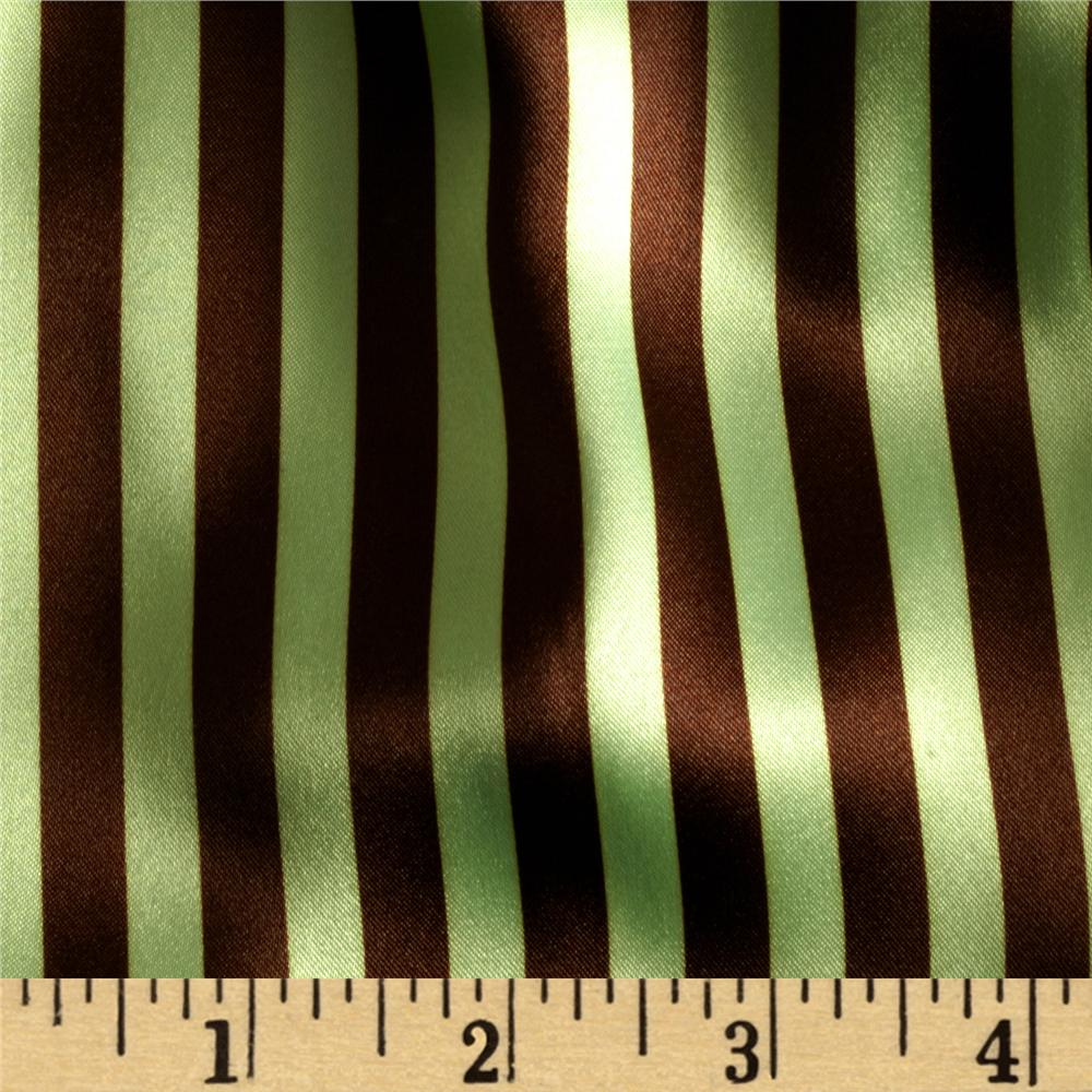 Charmeuse Satin Stripe Brown/Mint