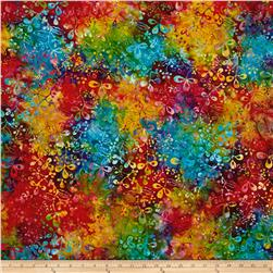 Benartex Balis Batik Color Pop Wild Flowers Pink/Blue Multi