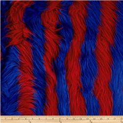 Fun Shag Faux Fur Ribbon Stripes Fire/Blue Fabric