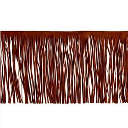 "8"" Faux Suede Fringe Trim Chestnut Brown"