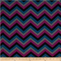 Stretch ITY Jersey Knit Small Chevron Purple/Black