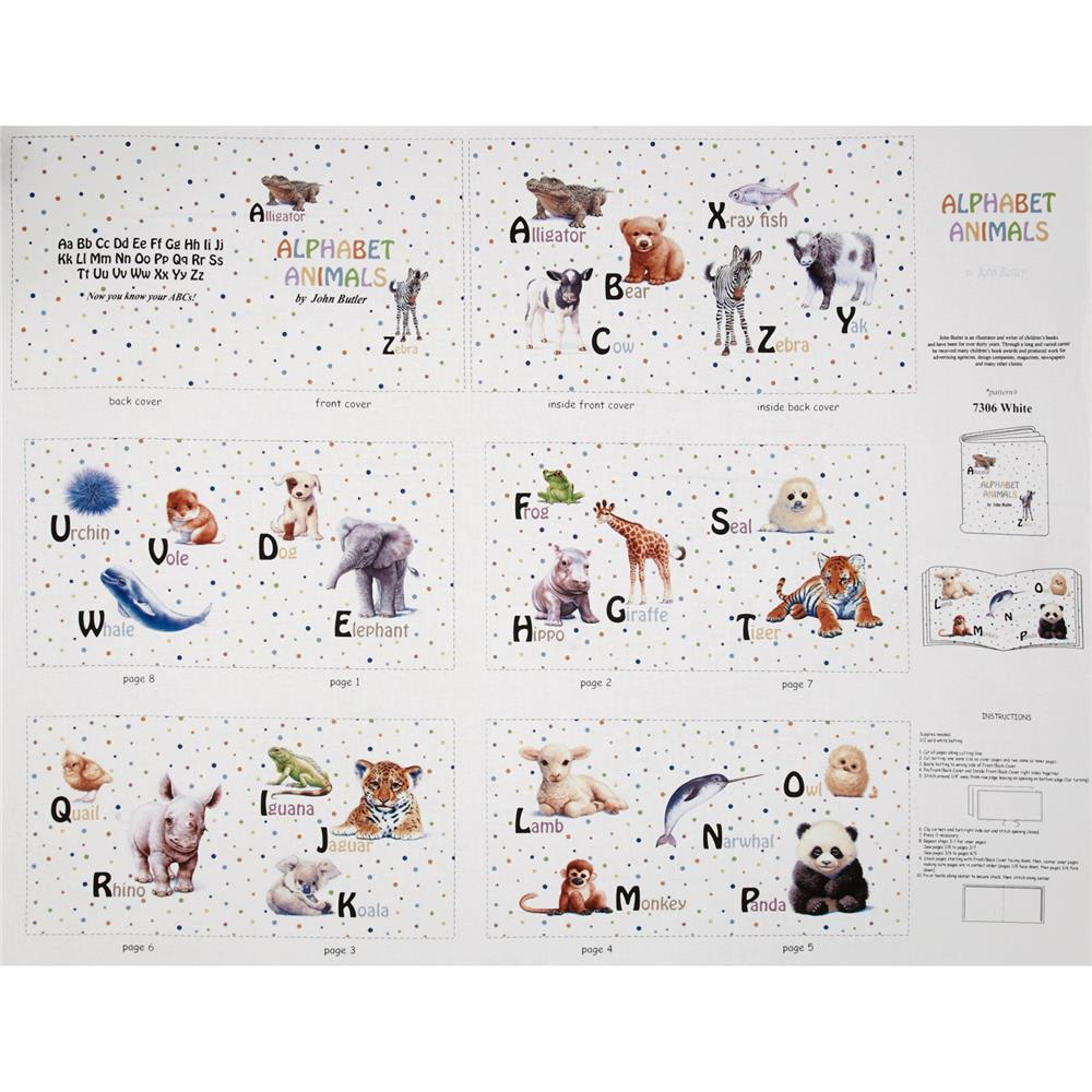 Alphabet Animals Soft Book Panel 36 In. Fabric